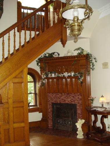 Original fireplace in foyer